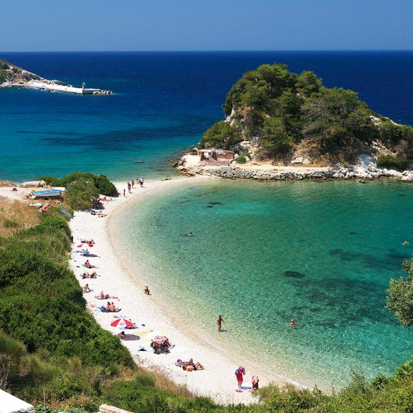 A beach & bay in Samos, one of the Greek islands on the ASIT 3 day Athens & Turkey cruise