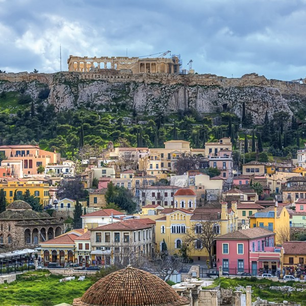 The Parthenon & Acropolis over Athens, start point of the ASIT 3 Day Greek island & Turkey cruise