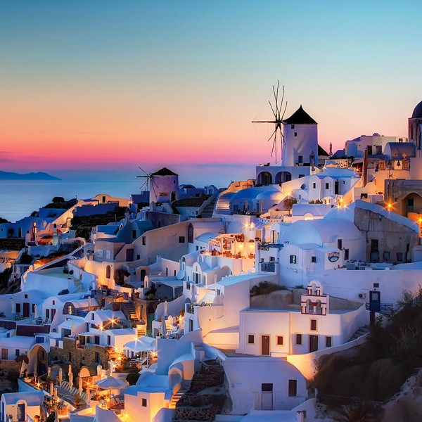 Picturesque town & sunset on the Greek island of Santorini, a stop on ASIT's 4 day cruise to Turkey
