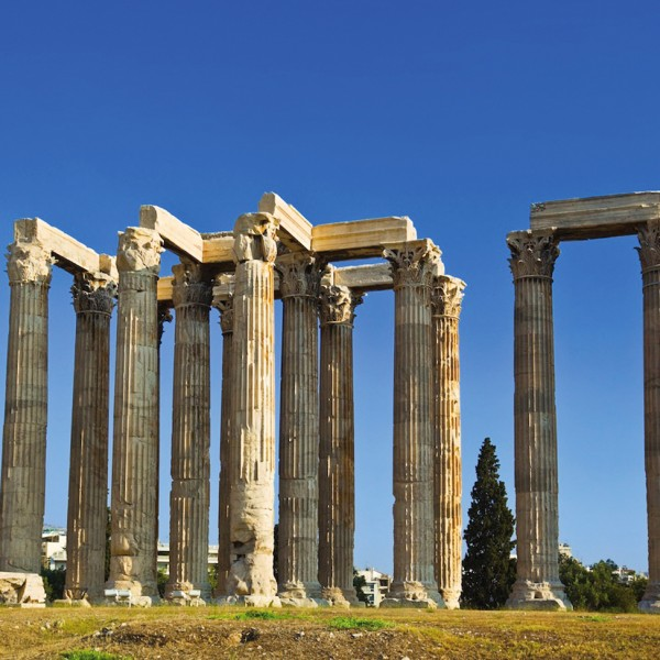 Ancient pillars at the remains of the Temple of Zeus in Athens, the capital city of Greece.