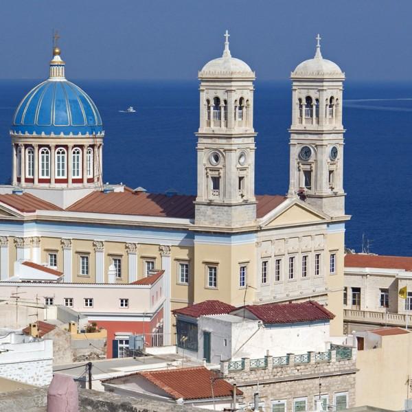 Saint Nicholas church by the sea in Ermoupoli, Syros on ASIT's 7 day Greek island & Turkey cruise