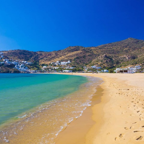 One of Ios' beautiful beaches, a highlight on ASIT's 7 day Athens, Greek islands & Turkey cruise