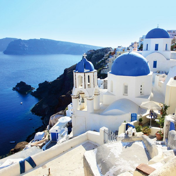 Beautiful architecture & sea view in Oia, on Santorini island on ASIT's 7 day Athens & Turkey cruise