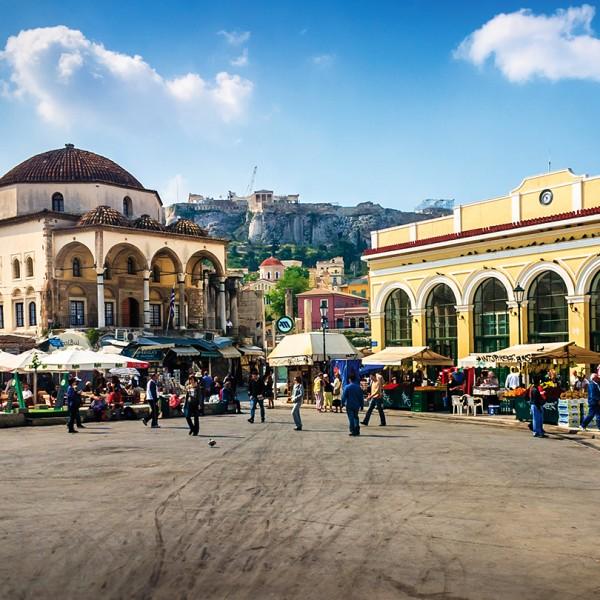 Monastiraki market with the Acropolis & Parthenon in the background, part of ASIT's Athens city tour