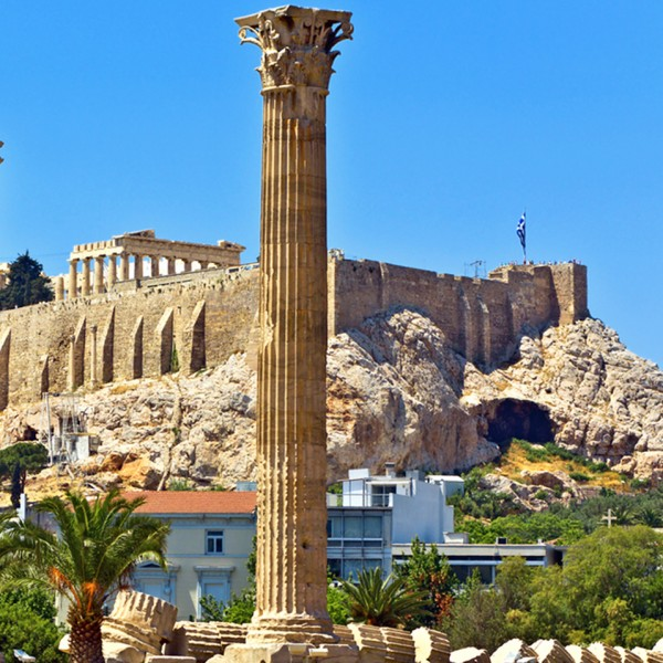 The historic Acropolis above the city of Athens, the first stage of the ASIT Athens to Mykonos tour