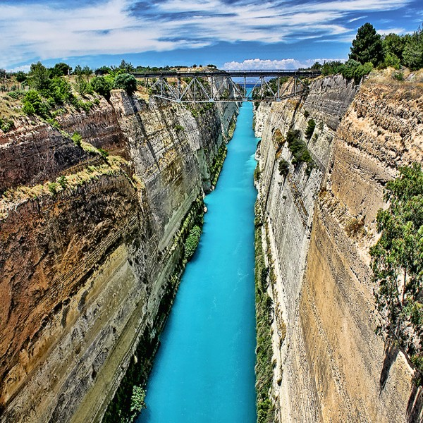 The spectacular view of the Corinth Canal, a stop on the ASIT Peloponnese peninsular tour package
