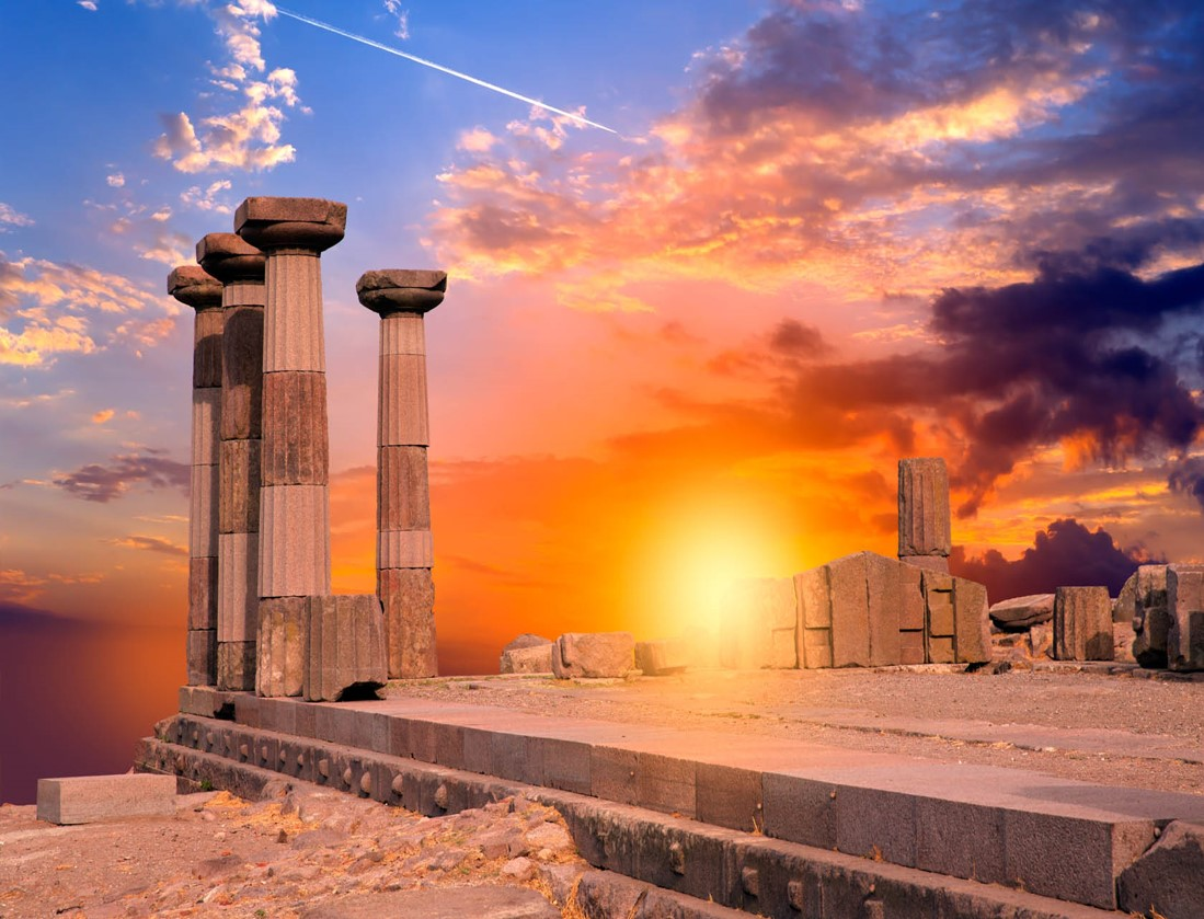 Sunset at Poseidon's Temple in Cape Sounion, an ASIT Athens half day tour package destination
