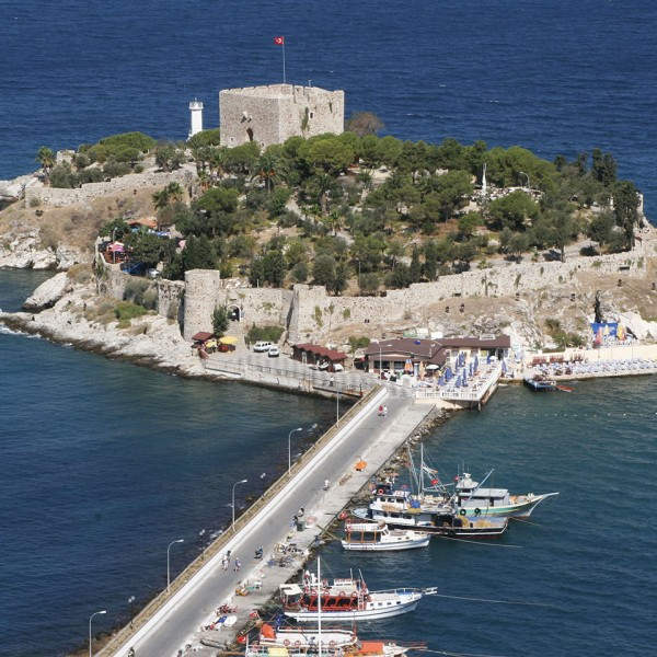 Aerial view of Kusadasi castle & boats on the ASIT 3 day Greek island & Turkey Mediterranean cruise