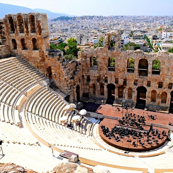 The Odeon of Herodes Atticus, an ancient theatre near the Acropolis in Athens, the capital of Greece