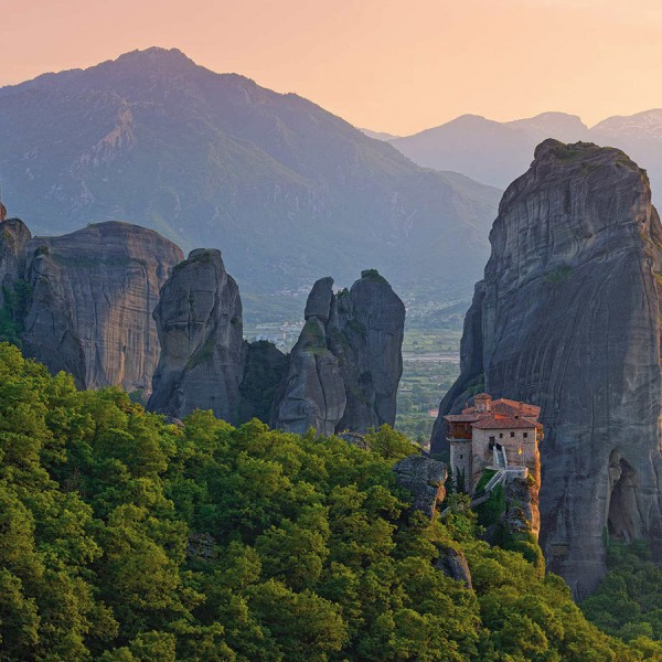 Meteora monastery amongst the rock formations. Last leg of the ASIT Athens, Delphi & Meteora tour.
