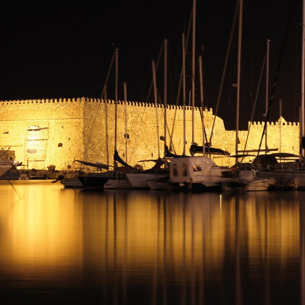 Heraklion fortress at night. Crete is the last stop on ASIT's tour that includes Athens & Santorini
