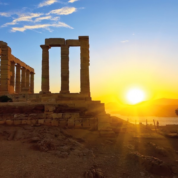 Sunset at Cape Sounion's Temple of Poseidon near Athens, start of the ASIT 7 day trip to Santorini