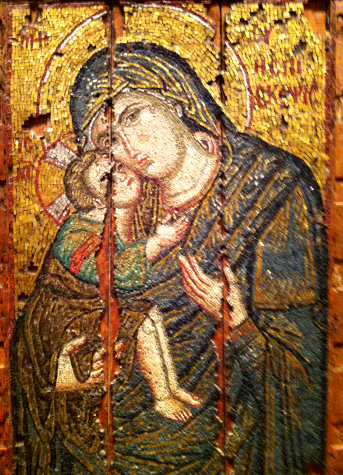 A typical Byzantine icon depicting Jesus and the Virgin Mary. (Photograph by James Conaway)