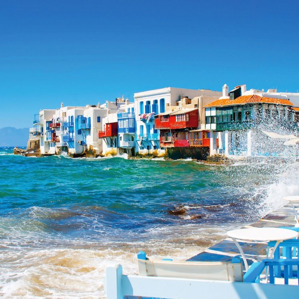 The harbour at Little Venice in Mykonos, one of the island destinations on the ASIT 12 day tour