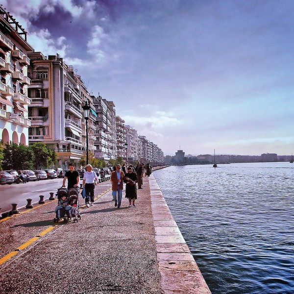People stroll along the waterfront at Thessaloniki, one of the highlights of a tour of the city