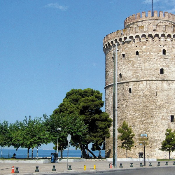 Thessaloniki's White Tower is a popular sight on the ASIT 6 day Thessaloniki to Corfu tour package