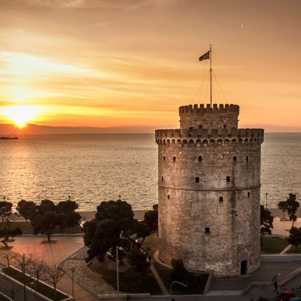 Sun sets by Thessaloniki's famous White Tower, the final destination on ASIT's 9 Day Tour of Greece